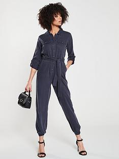 e895f5065eb V by Very Denim Look Jumpsuit - Navy
