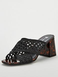 5df29c2de V by Very Gia Cross Strap Weave Low Block Mule Sandals - Black