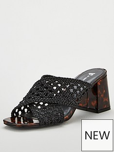 9d794bf70ef V by Very Gia Cross Strap Weave Low Block Mule Sandals - Black