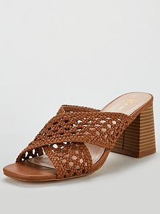 5551a6323ab V by Very Gia Cross Strap weave low block mule sandal