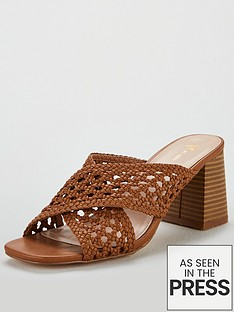 c4ab343bf02e V by Very Gia Cross Strap weave low block mule sandal