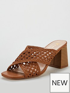 45fd1c995ac V by Very Gia Cross Strap weave low block mule sandal