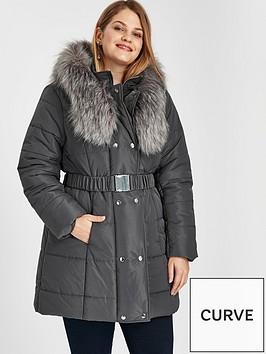 evans-faux-fur-collar-belted-padded-coat