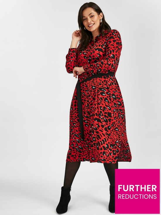 7facd5a36710 Evans Red Leopard Print Midi Shirt Dress   very.co.uk