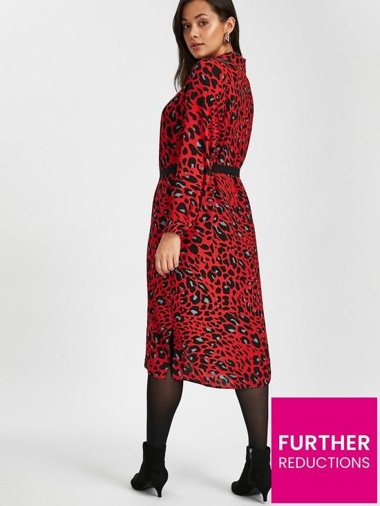 fc73f835b05b ... Evans Red Leopard Print Midi Shirt Dress. View larger
