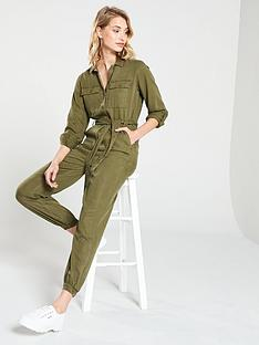 59df3f803d60 V by Very Button Through Jumpsuit - Khaki