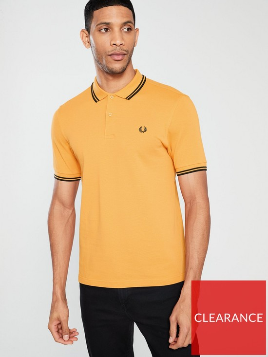 cd6c292f Fred Perry Twin Tipped Polo - Amber/Black | very.co.uk