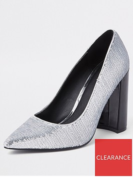 river-island-river-island-block-heel-sequin-court-shoes--silver