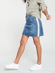 47ecda5445485 V by Very Lace Side Seam A-Line Denim Skirt - Mid Wash
