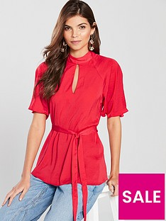 river-island-river-island-flute-sleeve-tie-waist-blouse--red