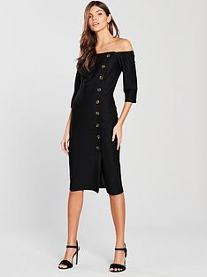 river-island-river-island-button-detail-bardot-midi-dress--black