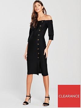 river-island-river-island-button-detail-bardot-midi-dress--black