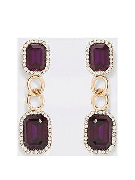 river-island-river-island-stone-chain-drop-earrings--gold
