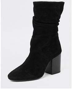 river-island-river-island-suede-slouch-calf-length-boots--black