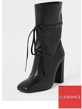 river-island-river-island-tie-front-leather-slouch-boots--black