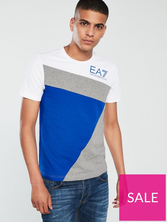 193d7a53 EA7 Emporio Armani EA7 Seven Stripes T-Shirt - Blue/Grey/White ...