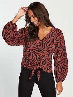v-by-very-zebra-tie-front-blouse-printednbsp