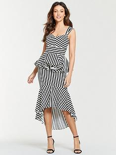 e87f6d20e7df2 Michelle Keegan Stripe Ruffle Front Midi Dress - Mono Stripe