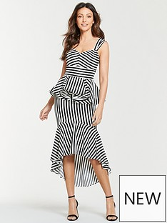 a2526727b6 Michelle Keegan Stripe Ruffle Front Midi Dress - Mono Stripe