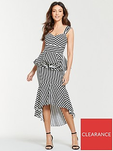 michelle-keegan-stripe-ruffle-front-midi-dress-mono-stripe