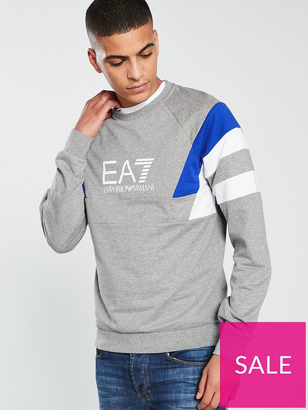 ec23985b EA7 Emporio Armani EA7 7 Stripes Sweatshirt - Grey | very.co.uk