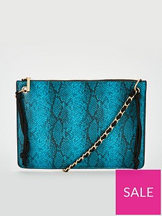 3833ea1a7 Michelle Keegan Snake Print Clutch Bag with Chain Handle - Turquoise