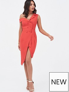 fbdd763cbda Lavish Alice One Shoulder Button Detail Tailored Wrap Dress - Scarlet Red