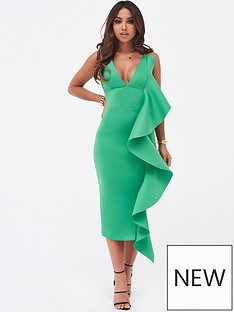 17481ba9ee0 Lavish Alice Draped Frill Midi Scuba Dress - Green