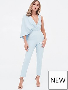 d1aa7aa077c Lavish Alice One Shoulder Caped Tailored Jumpsuit - Dusty Blue