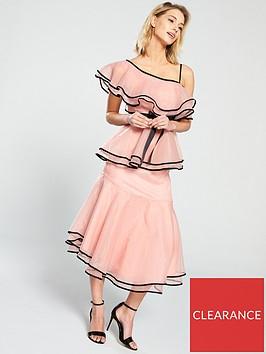 u-collection-forever-unique-one-shoulder-frill-midi-dress-nudeblack
