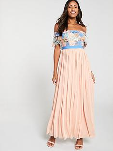 u-collection-forever-unique-bardot-lace-top-pleated-maxi-dress-multi