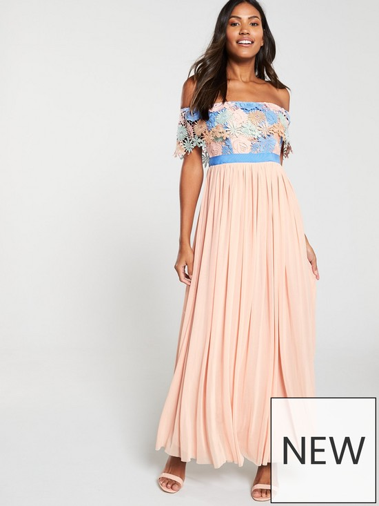 87727a5f625 U Collection Forever Unique Bardot Lace Top Pleated Maxi Dress - Multi