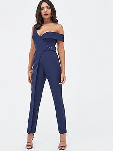 152df586807 Lavish Alice Buckle Trim Wrap Jumpsuit