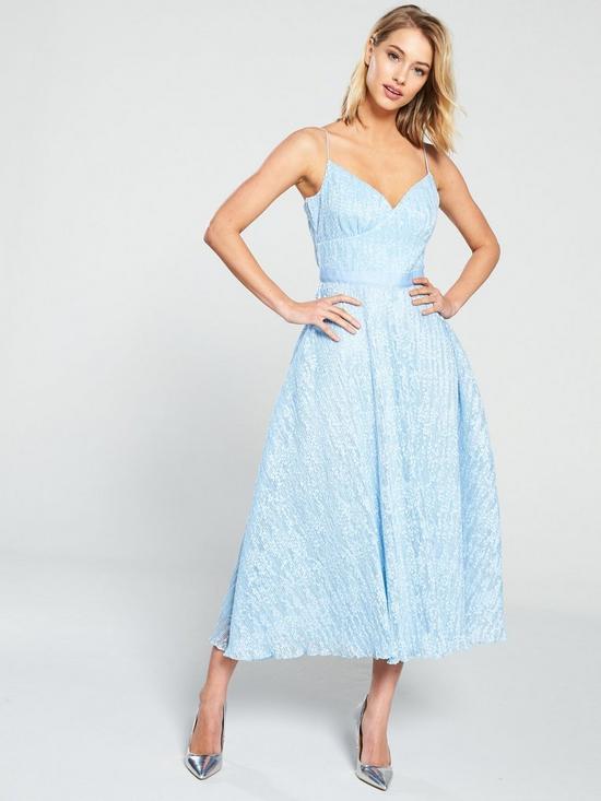 303b0d5a0593 U Collection Forever Unique Lace Midi Skater Dress - Pale Blue ...