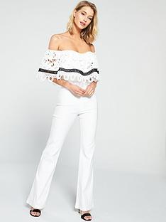 fb9f90ad163c U Collection Forever Unique Bardot Lace Frill Jumpsuit - Ivory