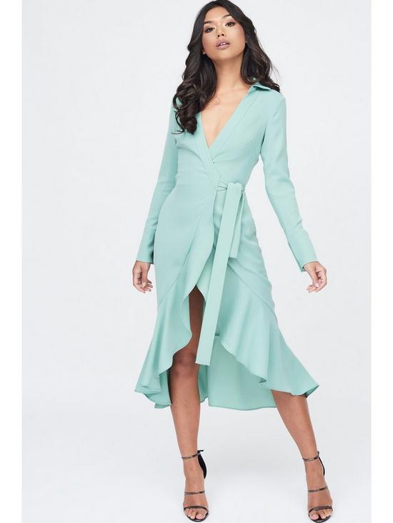 d443d616d1725 Lavish Alice Frill Hem Wrap Front Shirt Dress - Sage | very.co.uk