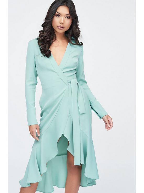 d9f73790c ... Lavish Alice Frill Hem Wrap Front Shirt Dress - Sage. 4 people have  looked at this in the last couple of hrs.