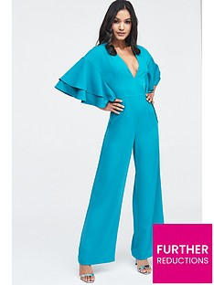 682b4d6a81c1 Lavish Alice Exaggerated Double Frill Sleeve Wide Leg Jumpsuit - Jade Green