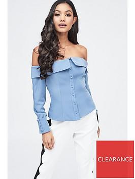 lavish-alice-bardot-fold-back-top-dusty-blue