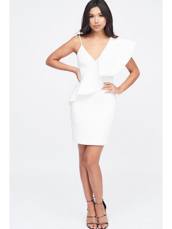 d40390b0f28 Lavish Alice Exaggerated One Shoulder Frill Scuba Mini Dress - White ...