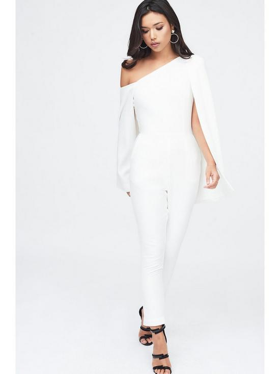 60cb9db5c38 Lavish Alice One Shoulder Cape Jumpsuit - White
