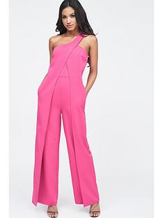 4d57b7dc96f Lavish Alice Lavish Alice One Shoulder Wrap Over Wide Leg Jumpsuit