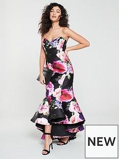 forever-unique-forever-unique-belle-strapless-floral-print-frill-hem-dress