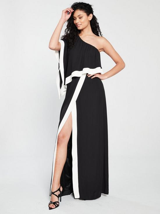 8364b0f1f55 Forever Unique Keen One Shoulder Maxi Dress Black Ivory Very Co Uk