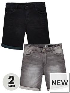 v-by-very-boys-2-pack-slim-fit-denim-shorts-blackgrey