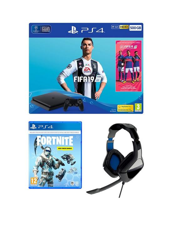 FIFA 19 500Gb Console Bundle with Fortnite: Deep Freeze, HCP4 Stereo Gaming  Headset and Optional Extras