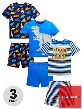 mini-v-by-very-boys-3-pack-dinosaur-amp-stripe-shortie-pjsnbsp--multi