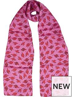 lulu-guinness-beauty-spot-skinny-scarf-pink