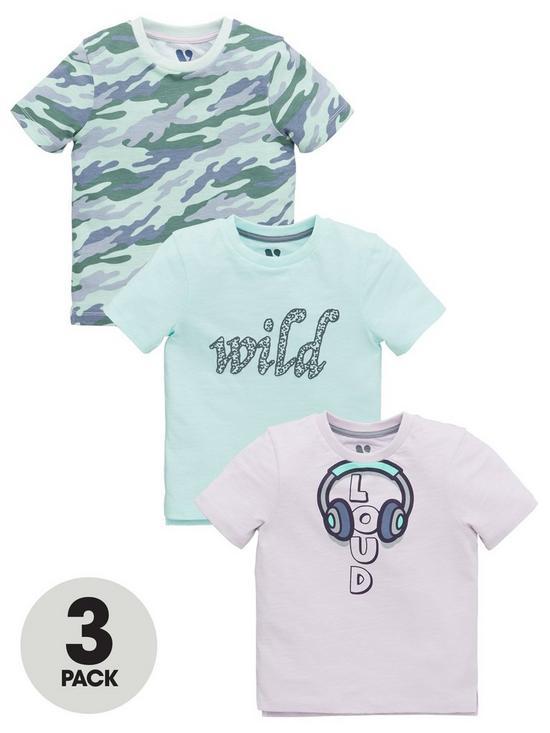 e33deafec Mini V by Very Boys 3 Pack Loud/Wild/Camo T-shirts - Multi | very.co.uk