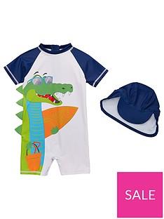 6ae2dbb364c Mini V by Very Boys #Snappy Vibes Crocodile Sunsafe & Hat Set - Navy/White